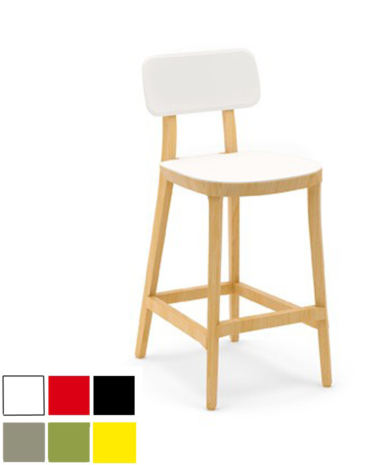 tabouret haut en bois avec peinture laqu e ulsan. Black Bedroom Furniture Sets. Home Design Ideas